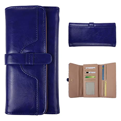 03e9d2f694 Asnlove Donna retrò Portafogli di PU Pelle, Smartphone Wallet Classico  Borsa Lungo Elegante Portamonete Carta
