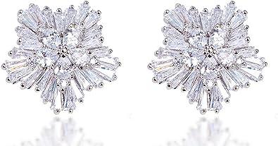 CS-DB 18K Gold Plated Clear Cubic Zirconia Stone Heart Stud Earrings