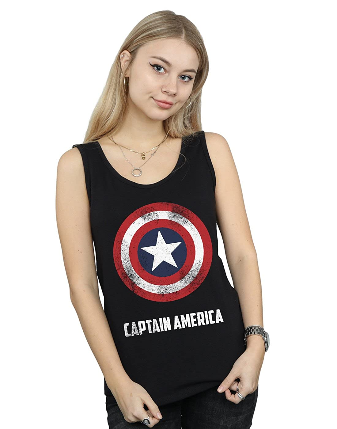 Marvel Women's Captain America Shield Text Tank Top Absolute Cult