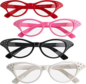 Cat Eye Glasses with Rhinestones - (Pack of 4) Vintage Retro 50s 60s Inspired Clear Non - Prescription Costume Cateye Sunglasses for Women & Kids by Bedwina