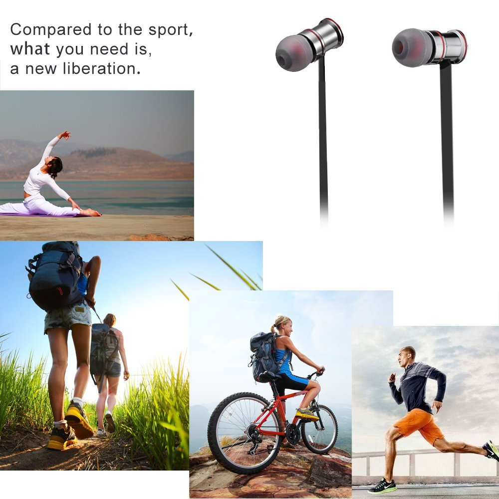 Ecandy Bluetooth Headsets,Wireless Stereo Bluetooth Headphones With Magnet Attraction,Sweatproof V4.1 Sports Earphones with Microphone for iPhone, Android Smartphones And Other Bluetooth Devices,Black