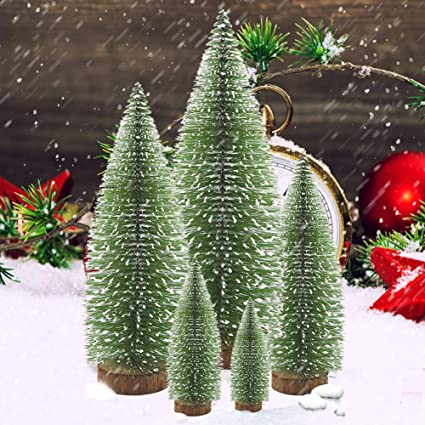 Eahuho Miniature Pine Tree Christmas Trees Desktop Snow Frost Trees Bottle Brush Trees Plastic Winter Snow Ornaments Tabletop Trees For Diy Room Decor