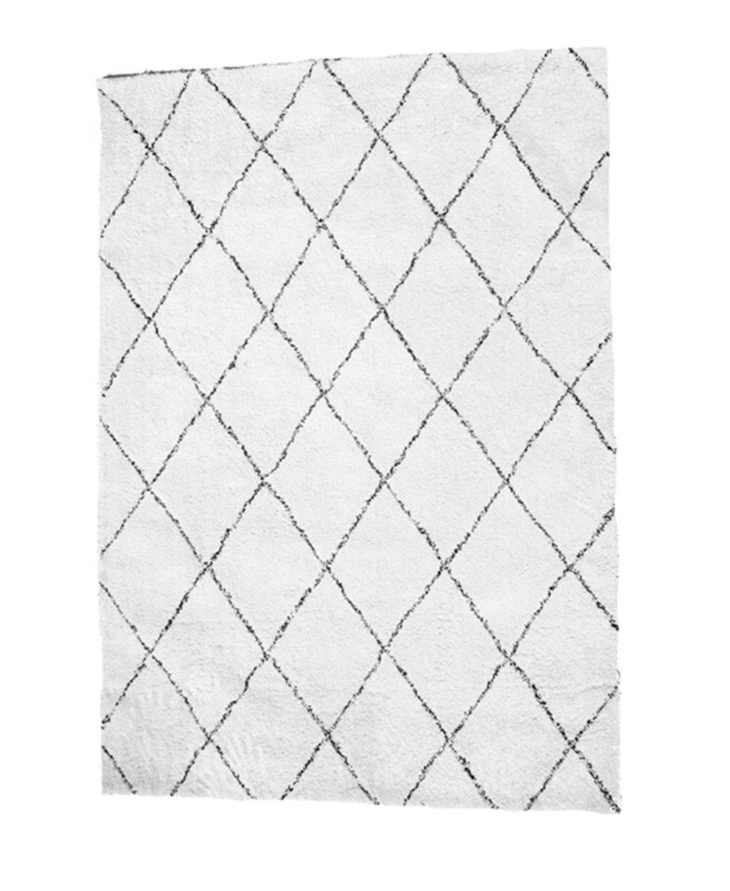 Carpet-G CGN Handgefertigte Teppich, Diamond Line schwarz und weiß Raute Teppich Wohnzimmer Schlafzimmer Studie Teppich weichen bequemen modernen einfach wert es haben weich (größe   200  240cm)