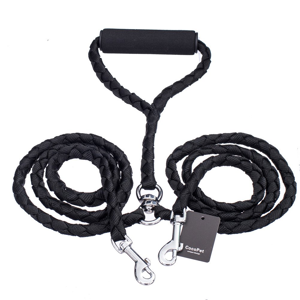 CocoPet Heavy Duty 2 Way Dog Coupler Leash Braided Tangle Free Dual Leash, Best for Jogging Running 4.6FT Black