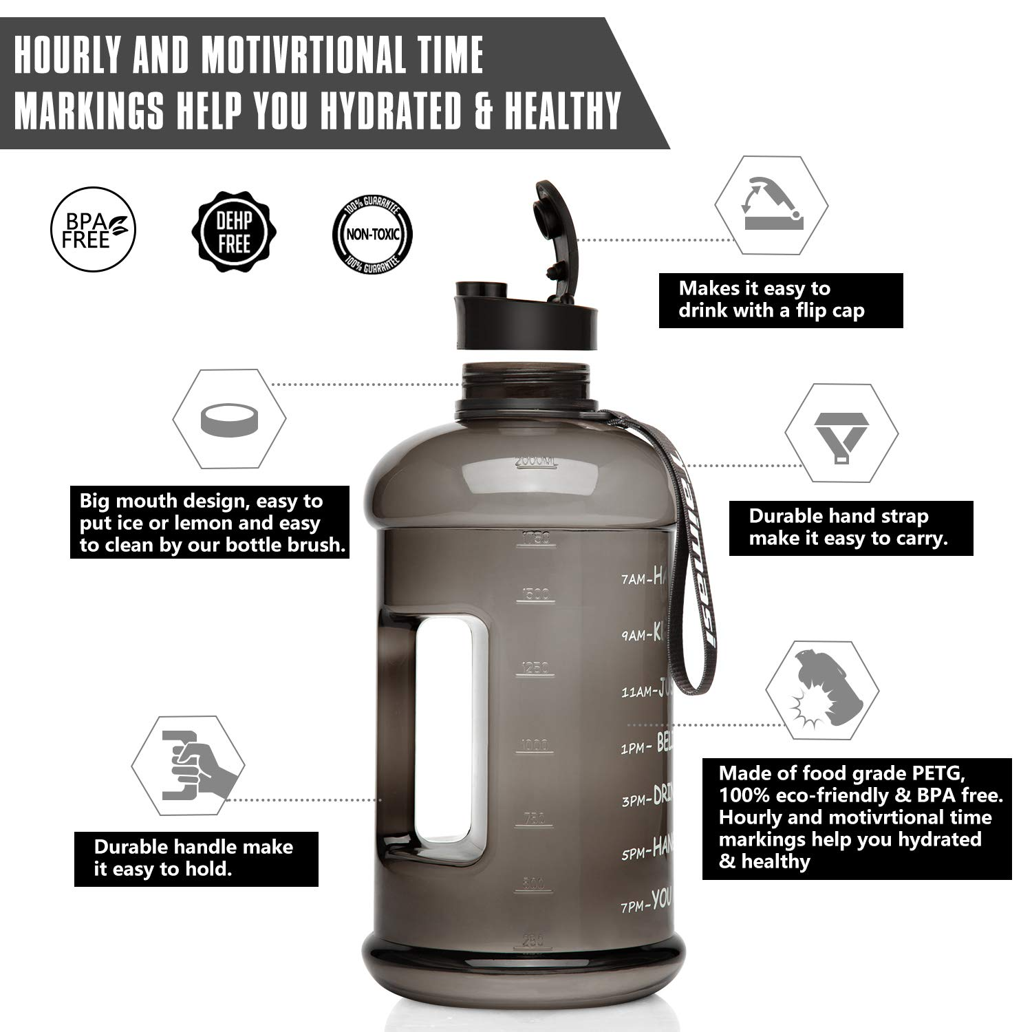 Reusable Leak Proof Motivational Water Bottle for GYM Fitness Camping 2.2L//73oz Water Bottle With Time Marker Large Sports Water bottle Water Jug with Sleeve /& Cleaning Brushes /& Cooling Towel