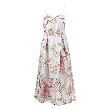 Off Shoulder White Floral Boho Style Strap Dress Women Backless Summer Beach Sexy Party Mesh Dresses Vestidos at Amazon Womens Clothing store: