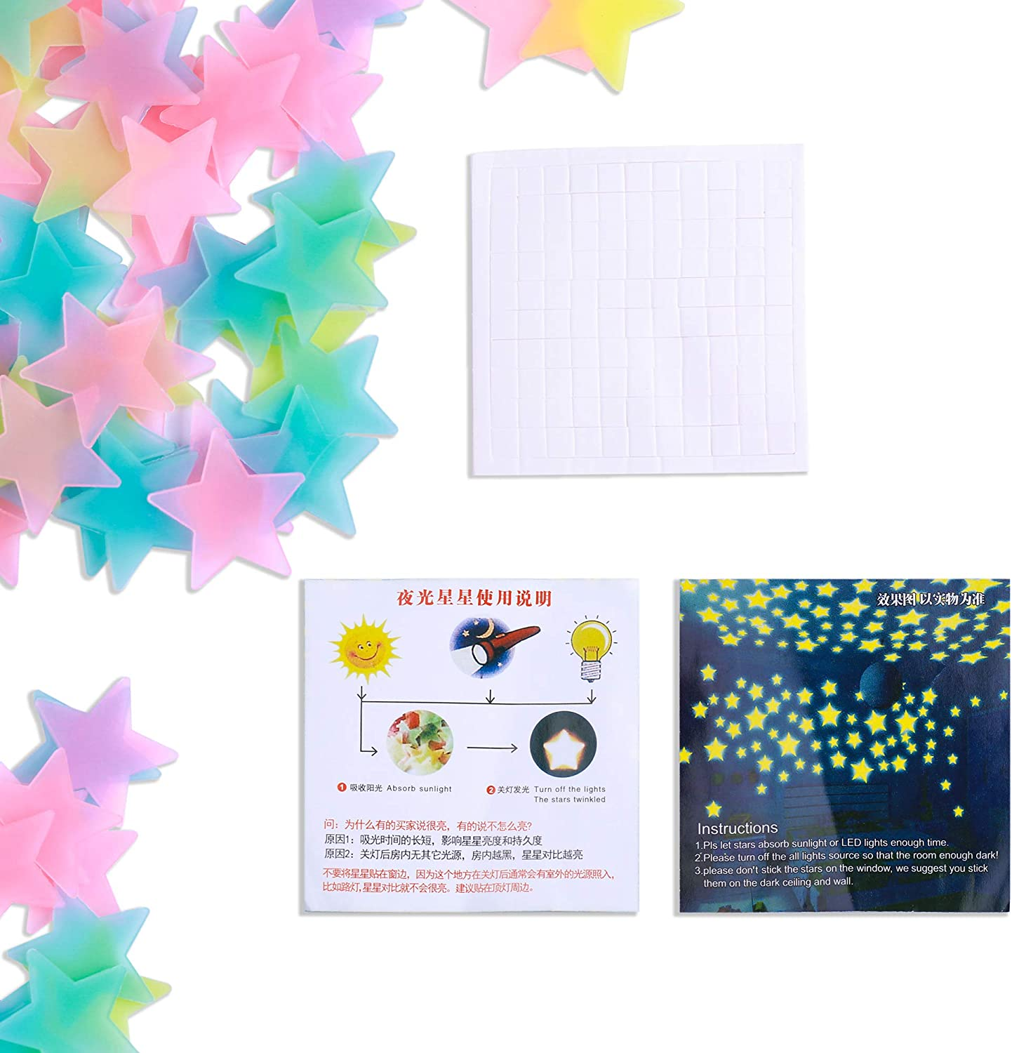 Amaonm 100 Pcs Colorful Glow in The Dark Luminous Stars Fluorescent Noctilucent Plastic Wall Stickers Murals Decals for Home Art Decor Ceiling Wall Decorate Kids Babys Bedroom Room Decorations: Home & Kitchen