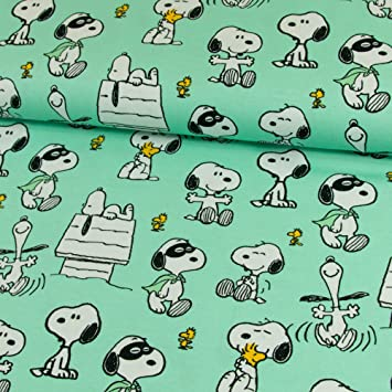 Stoffe Werning Baumwolljersey Lizenzstoff Peanuts Snoopy Maske Mint ...