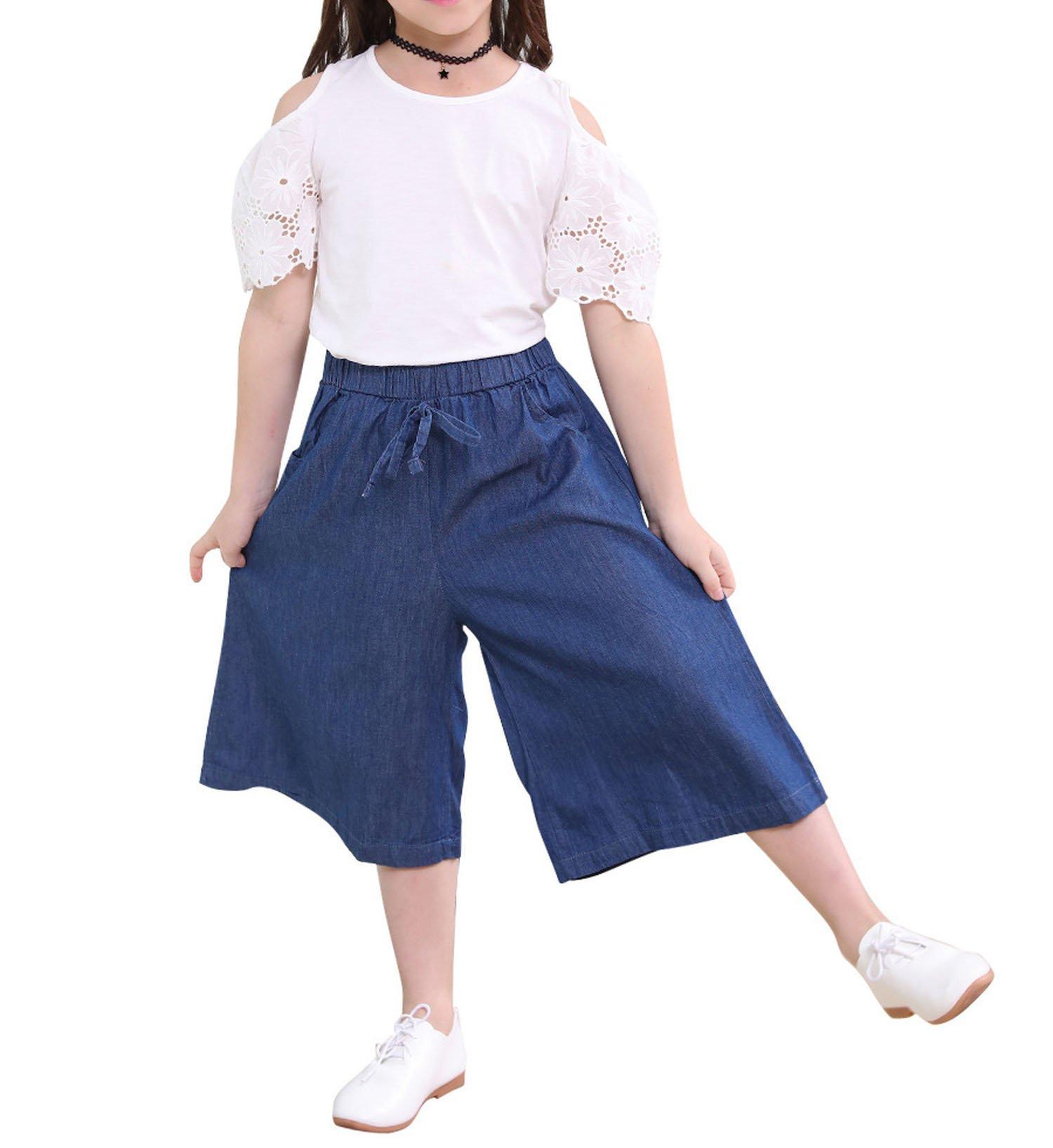 Zcaosma Girl Clothes Two-Piece Set Short Sleeve Tops Denim Pants Cotton Outfits,Beige,12