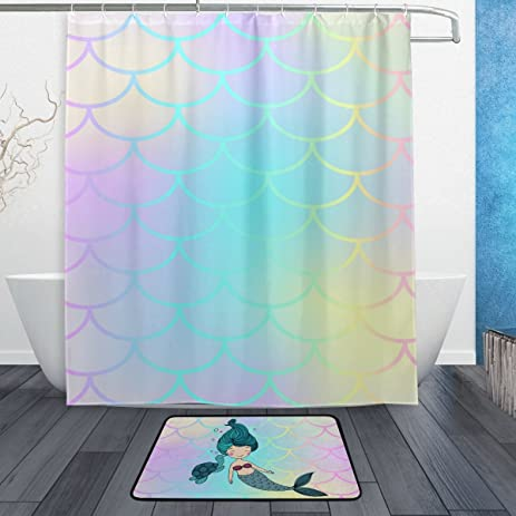 YZGO Pink Mermaid Tail Fish Scale Shower Curtain Polyester Fabric Bathroom  Curtain Set With Mats Rugs
