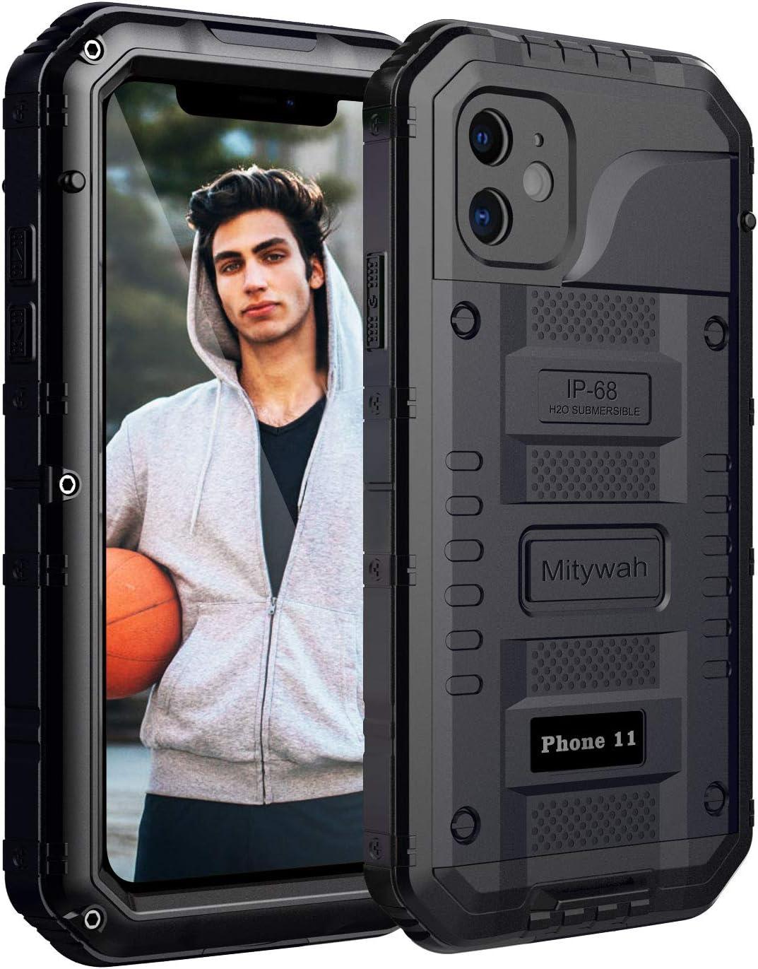 Mitywah Waterproof Case for iPhone 11, Heavy Duty Durable Metal Full Body Protective Case Built-in Screen Protection Waterproof Shockproof Dustproof Rugged Military Grade Defender, Black