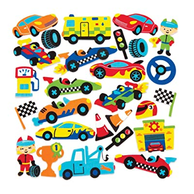 Baker Ross Racing Car Foam Stickers (Pack of 120) Chequered Flag and Cars Themed Puffy Scrapbook Stickers in Fun Foam Shapes: Toys & Games
