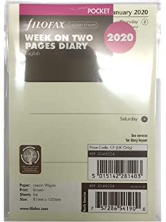 Amazon.com : Filofax Week On Two Pages Pocket Size Calendar ...