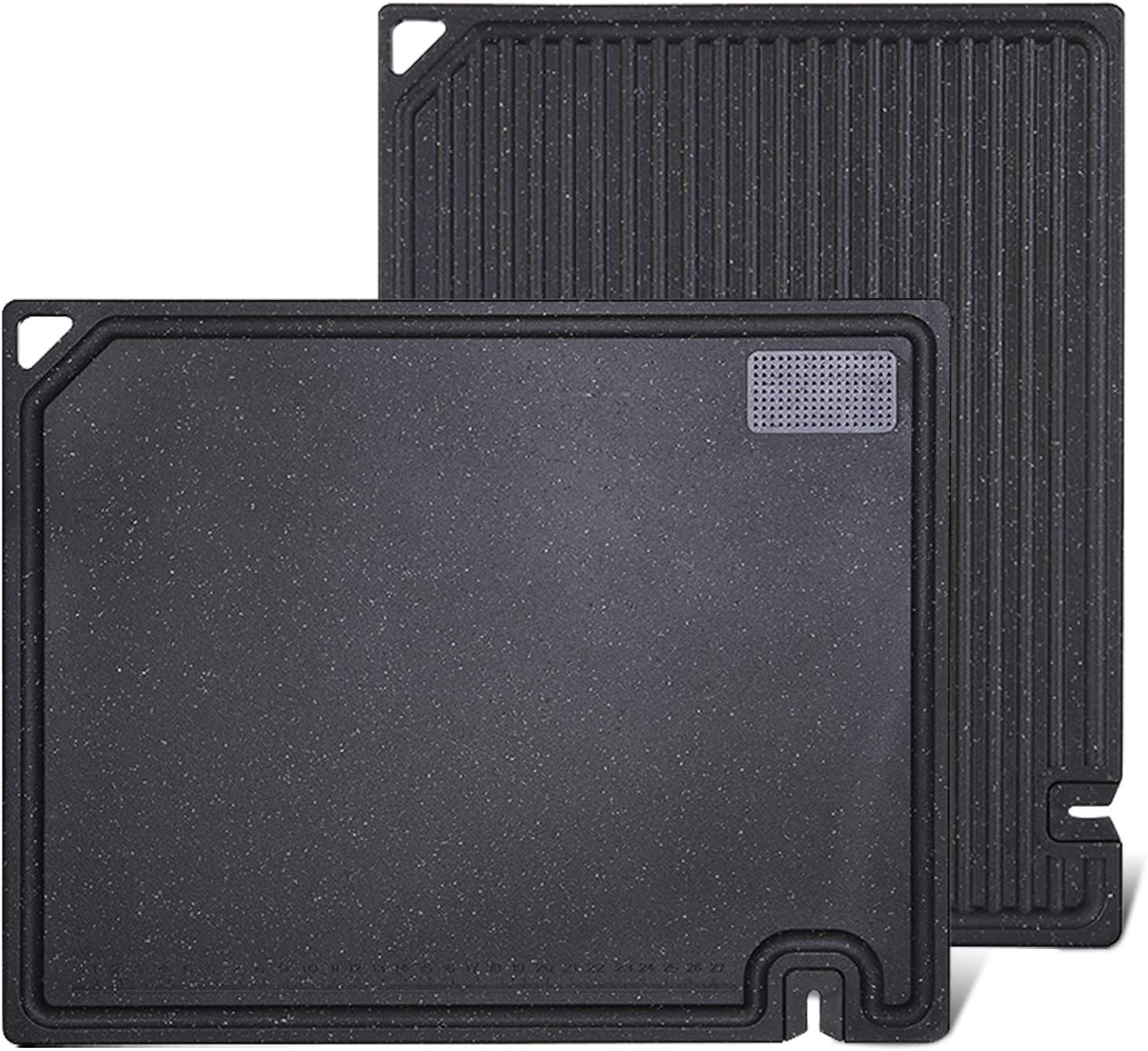 Large Black Cutting Board with Food Grinder and Knife Sharpener, Dishwasher Safe, Food Safe Plastic Material, 16 X 13 Inch, BPA-Free, Juice Groove