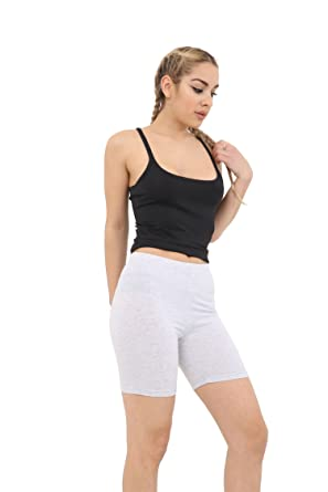 7815a2a2b8 Crazy Chick New Women s Ladies Cotton Legging 1 2 Length Over-Knee Shorts  Active Sport Casual Pants UK Size 8-22  Amazon.co.uk  Clothing
