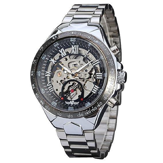 Sandistore ruso esqueleto automático relojes para hombre reloj de pulsera de acero inoxidable de plata
