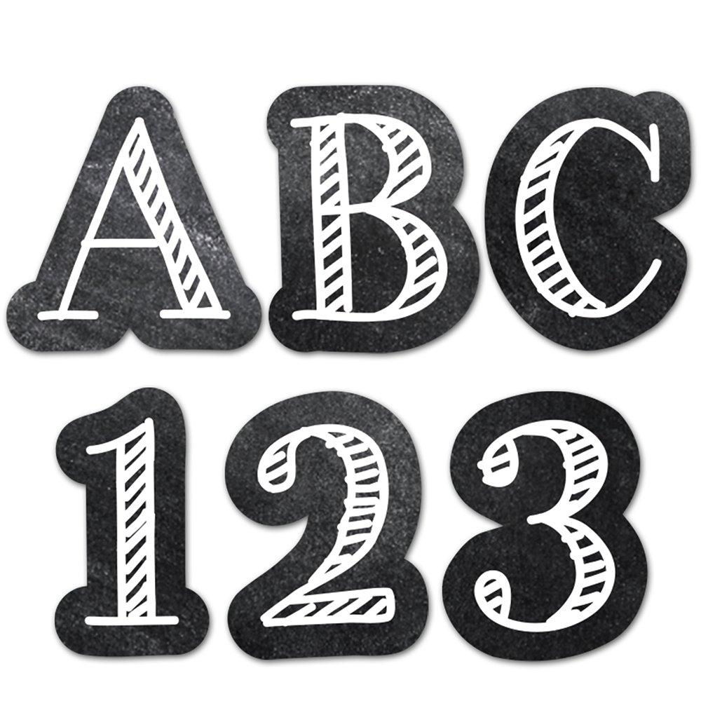Creative Teaching Press Chalkboard 1'' UC Letters Stickers, Black/White (2102)