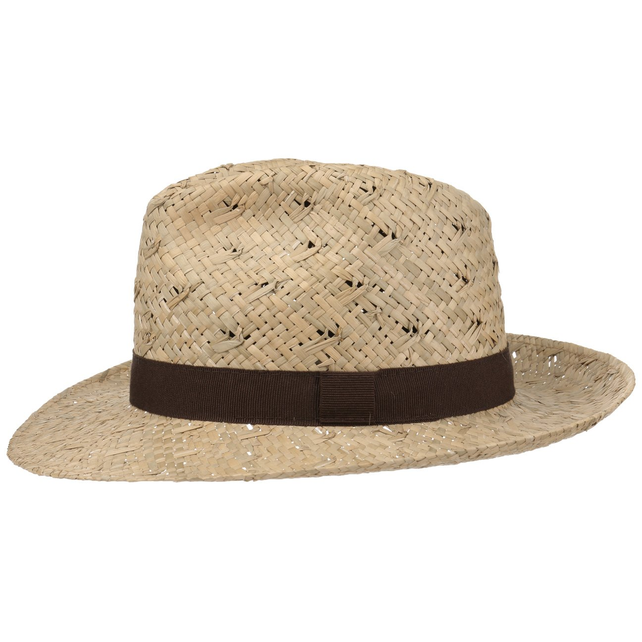Lipodo Classic Bogart Strohhut Strandhut Hut Sommerhut Sonnenhut Fedora Strohfedora für Damen und Herren mit Ripsband Frühjahr Sommer