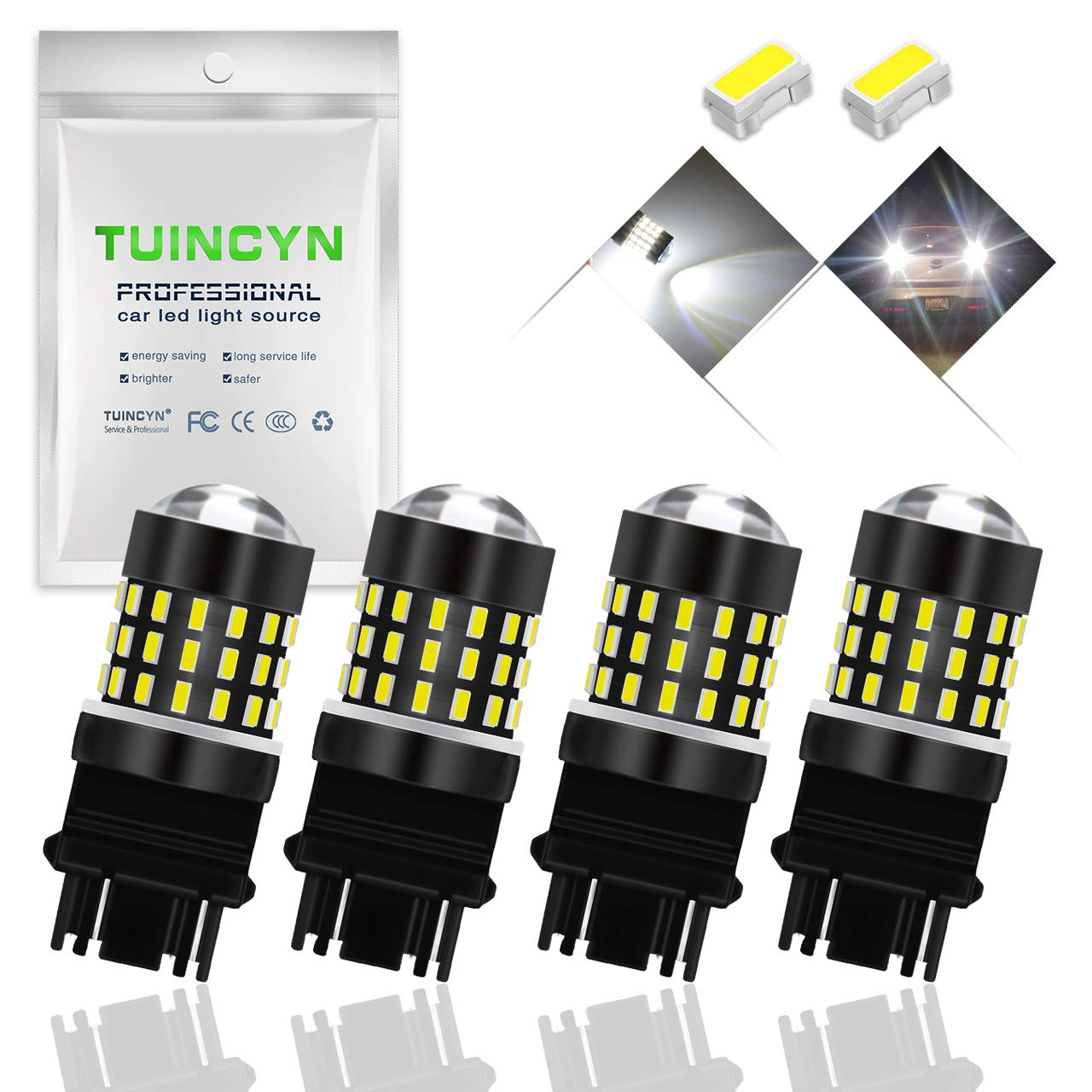 TUINCYN 7443 7440 T20 992 7444NA LED Brake Light Bulbs Red Super Bright 3014 54-EX Chipsets Backup Reverse Light Parking Light Daytime Running Light Rear Turn Signals Light Tail Light 2-Pack