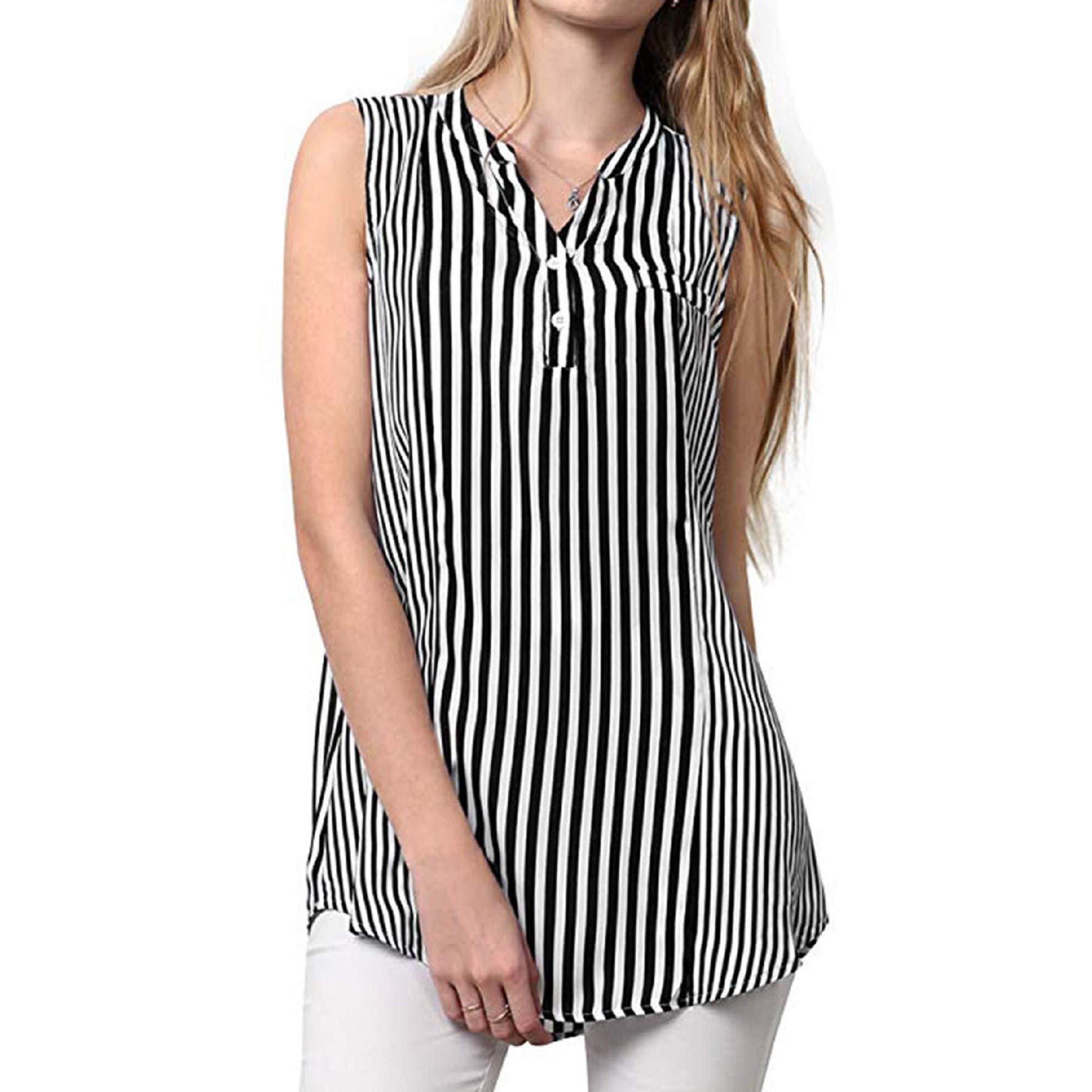 BingYELH Women Tops Womens Sleeveless Striped Printed Henley Shirt Button Summer Casual Loose Tank Top Blouse Vest White