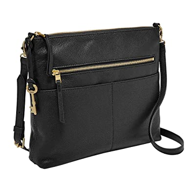 e87f0a0a2 Fossil Fiona Large Crossbody, Black, One Size: Handbags: Amazon.com