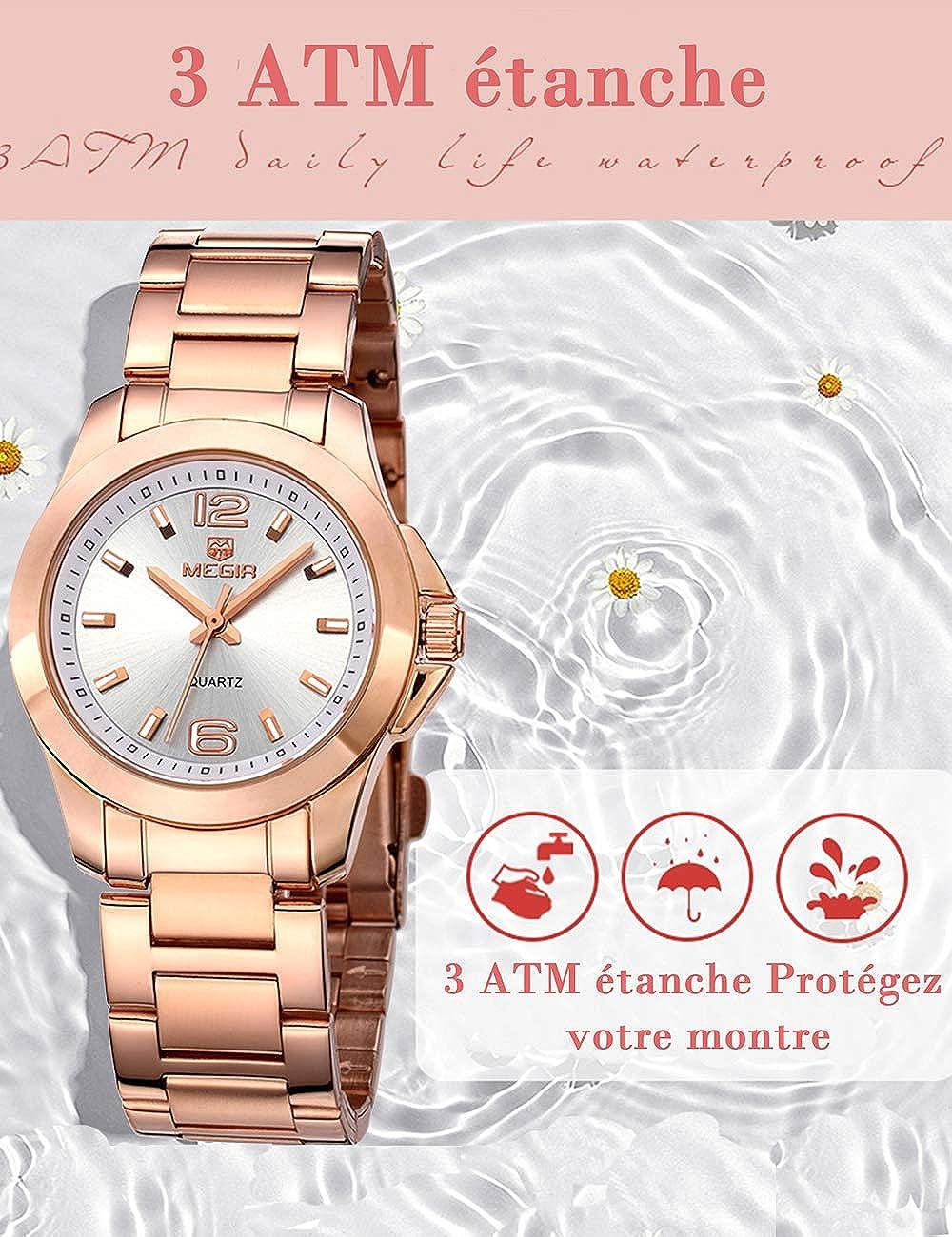 MEGIR Ultra Mince Quartz Fashion Montre pour Femme avec Bracelet en Acier Rose Gold