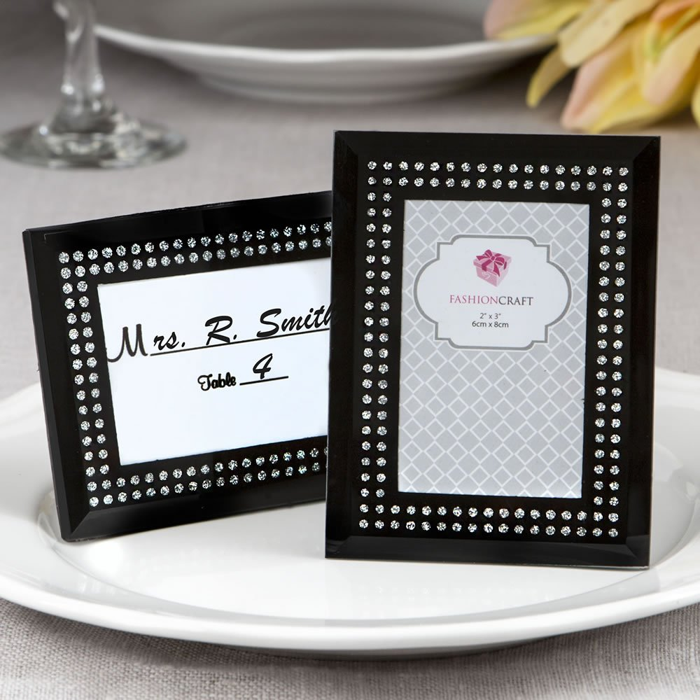 57 Black Frosted Glass Picture Frame Placecard Holders by Fashioncraft