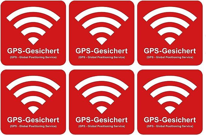 6 Stück Premium Aufkleber Gps Gesichert 5 X 5 Cm Alarm Sicherung Hinweis Witterungs Und Uv Beständig Baumarkt
