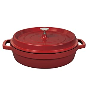 "MasterPan 4QT Non-Stick Cast Aluminum Dutch Casserole 11"" Red"