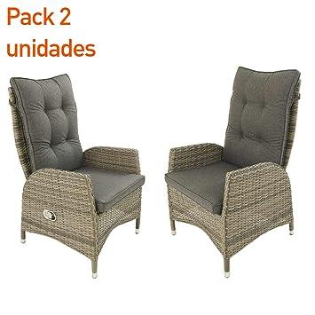 Pack 2 sillones de exterior reclinables | Tamaño: 63x67x120 cm ...