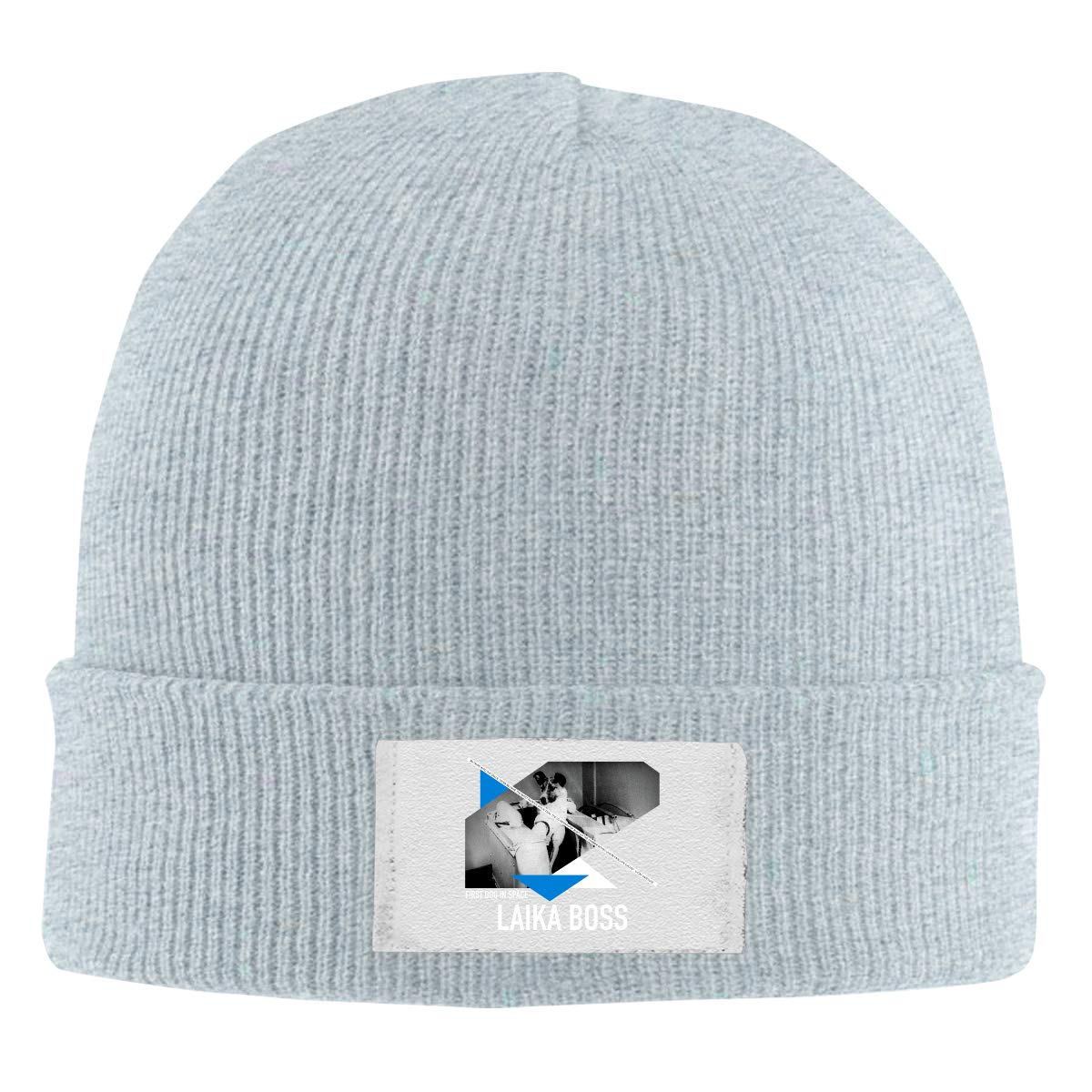 Skull Caps First Dog in Space Laika Boss Astronaut Dogs Winter Warm Knit Hats Stretchy Cuff Beanie Hat Black