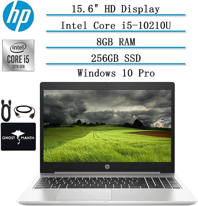 """2020 Newest HP ProBook 15.6"""" HD Anti-glare Laptop for business and student, 10th Gen Intel Quad Core i5-10210U (Beat i7-8665U), 8GB RAM, 256GB SSD, Backlit-KB, HDMI, Wifi, Win10 Pro, w/ GM Accessories"""