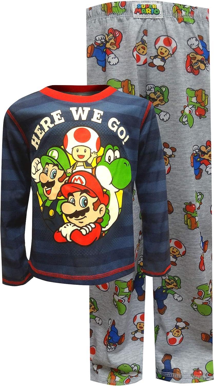 Super Mario Brothers Boys' Super Mario Here We Go Striped Pajamas Komar Kids K203642MA8