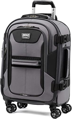 Travelpro Bold – Softside Expandable Luggage with Spinner Wheels, Grey Black, Carry-On 21-Inch