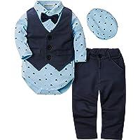 ZOEREA 4pcs Ropa Bebe niño Conjuntos Camisas de Manga Larga + Chaleco + Pantalones + Boina, Infantil niños Trajes…
