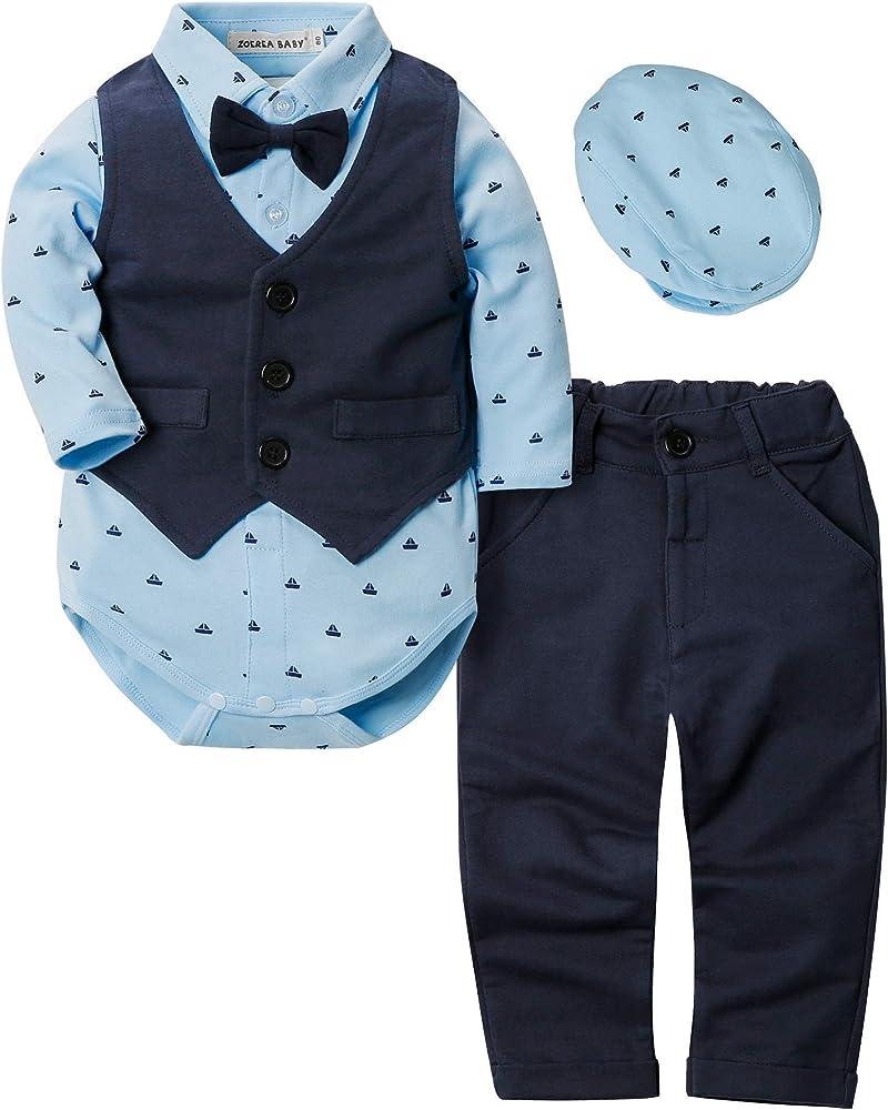 ZOEREA 4pcs Ropa Bebe niño Conjuntos Camisas de Manga Larga + Chaleco + Pantalones + Boina, Infantil niños Trajes Conjunto de Fiesta Boda Bautizo (Azul Oscuro, Etiqueta 70 (Edad 6~12 Meses)): Amazon.es: Ropa y accesorios