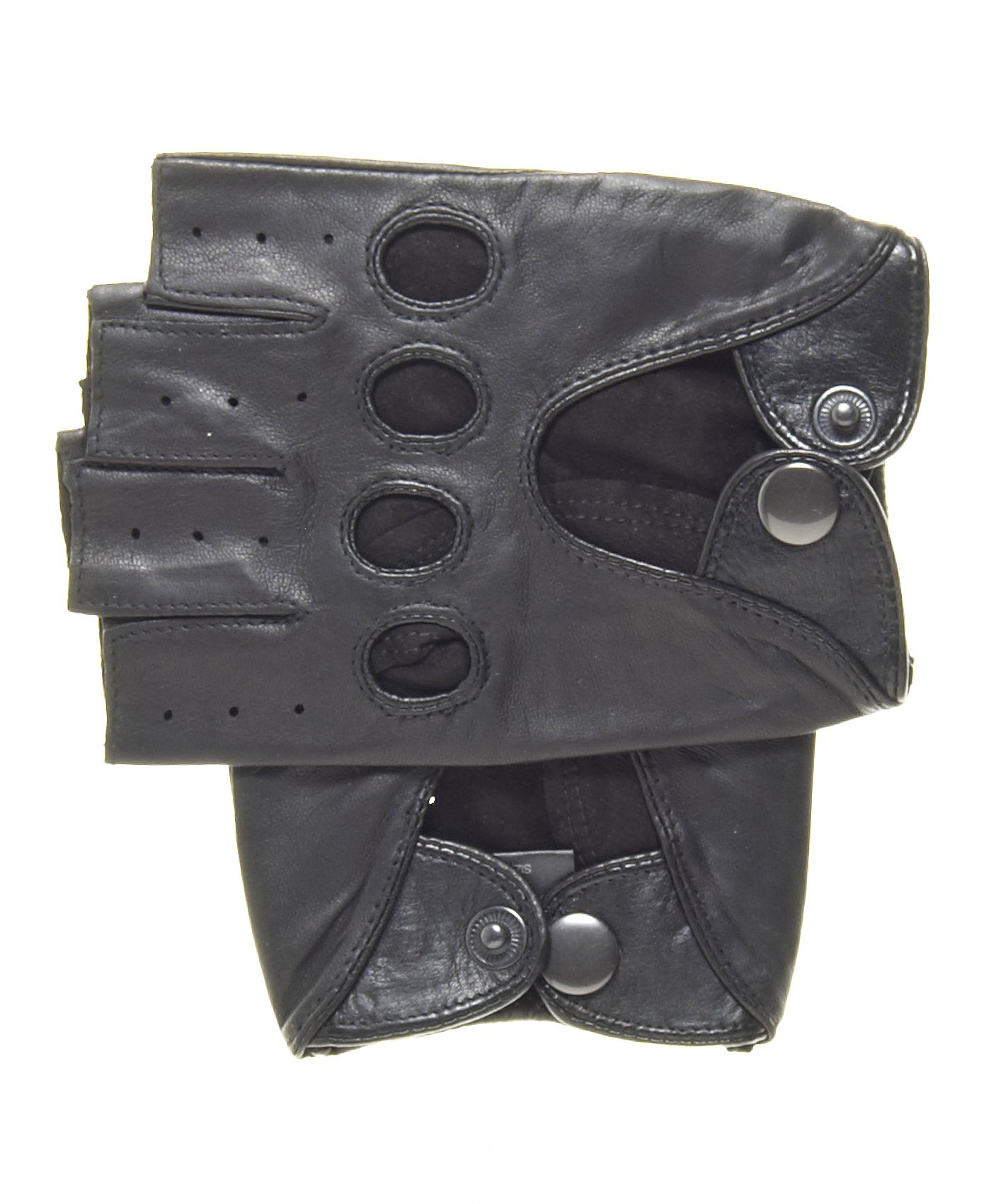 Pratt and Hart Men's Shorty Leather Driving Gloves (Fingerless) Size L Color Black