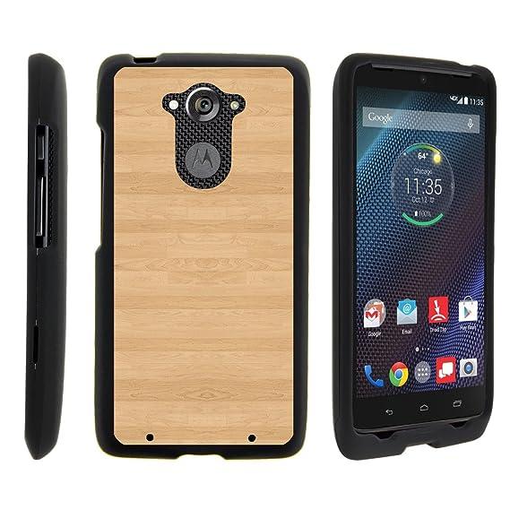 TurtleArmor | Motorola Droid Turbo Case | XT1254 | Moto Maxx Case [Slim  Duo] Two Piece Hard Cover Slim Snap On Case on Black - Maple Wood