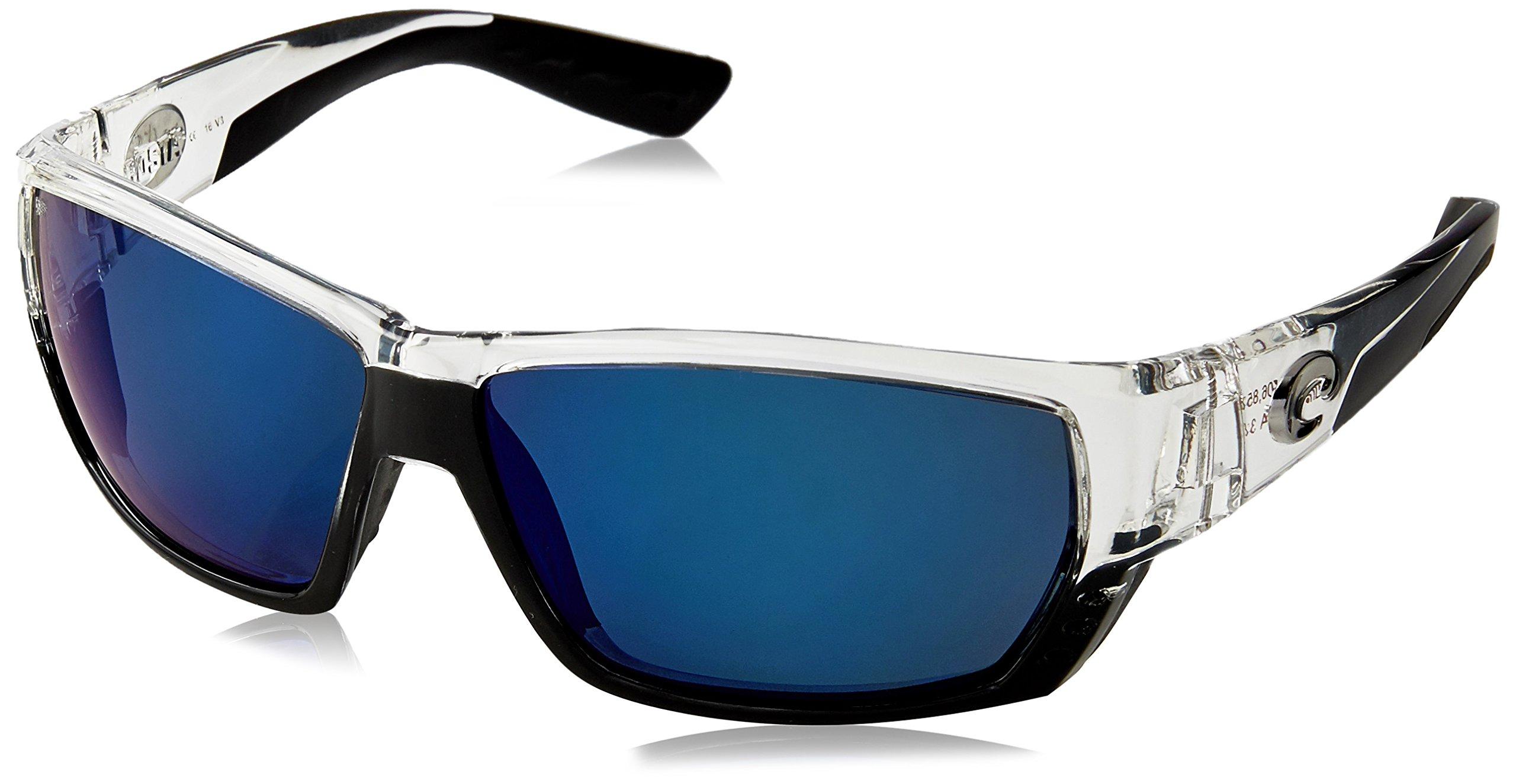 Costa Del Mar Tuna Alley Sunglasses, Crystal, Blue Mirror 580 Plastic Lens