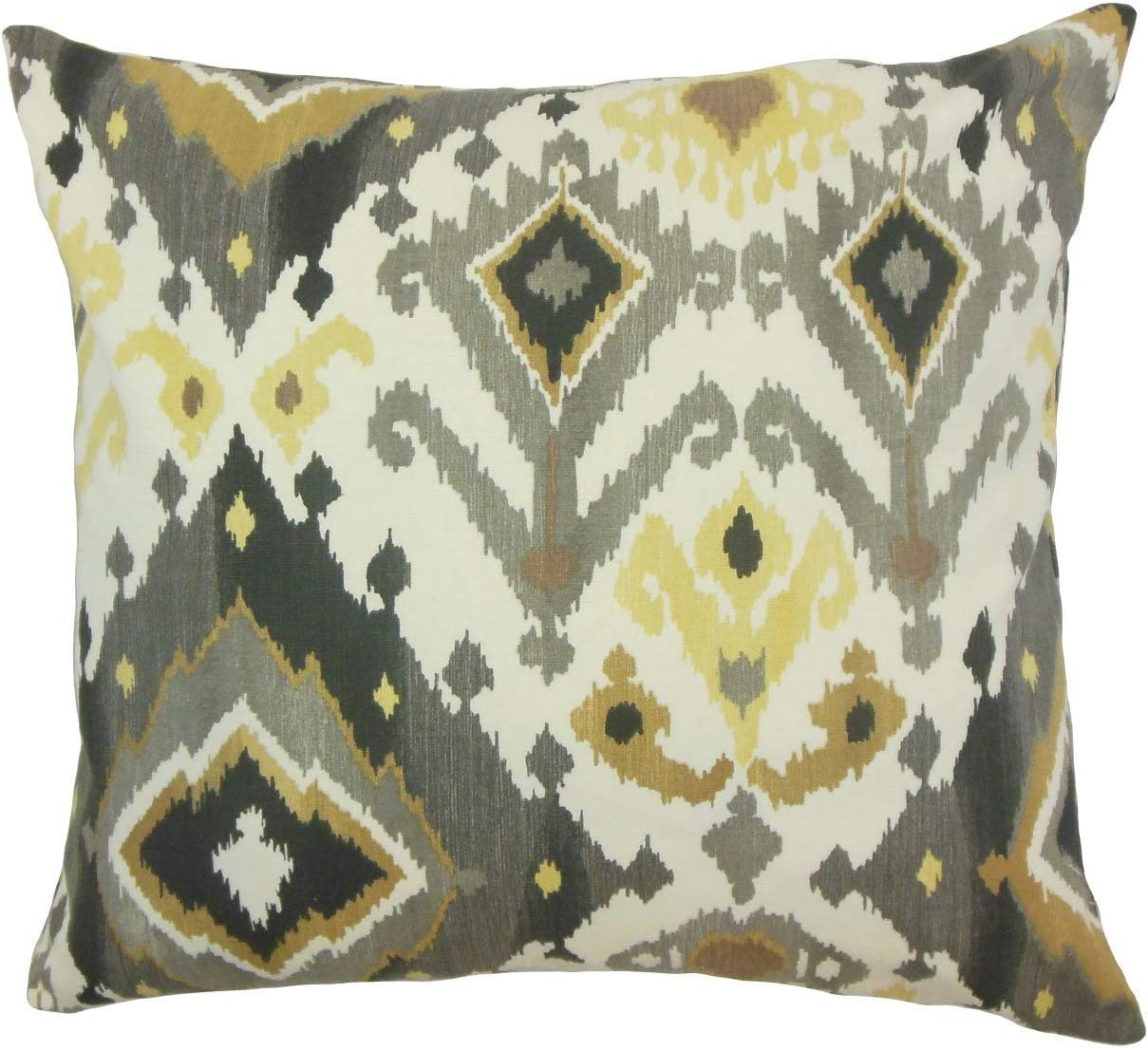 Amazon Com The Pillow Collection Qortni Ikat Black Camel Down Filled Throw Pillow Home Kitchen