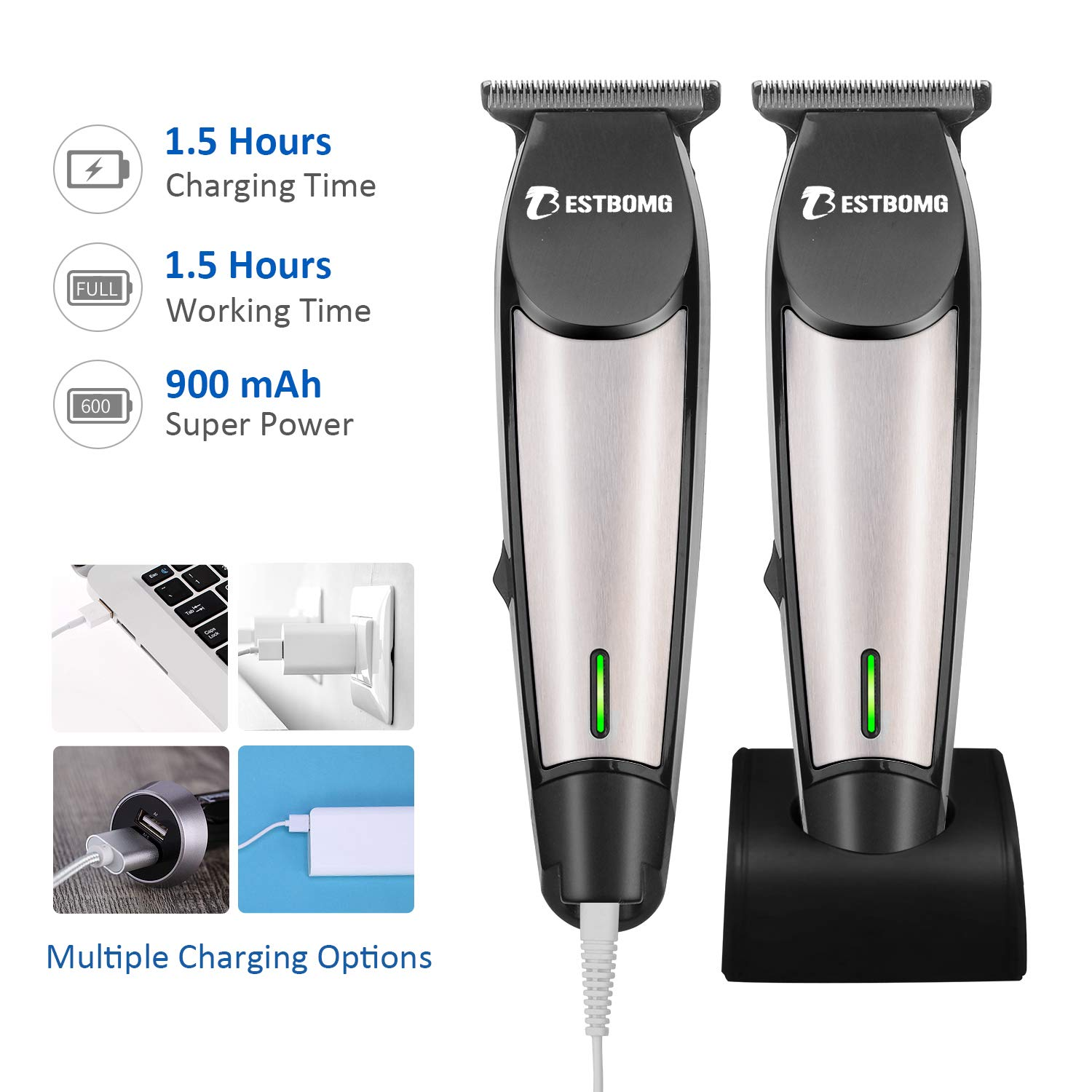 BESTBOMG Pro Outliner Hair Beard Trimmer with T-Blade, Cordless Hair Beard Mustache Body Grooming Kit, USB Rechargeable Home Barber Clippers Set for Contouring Shaving, Sculpting and Trimming