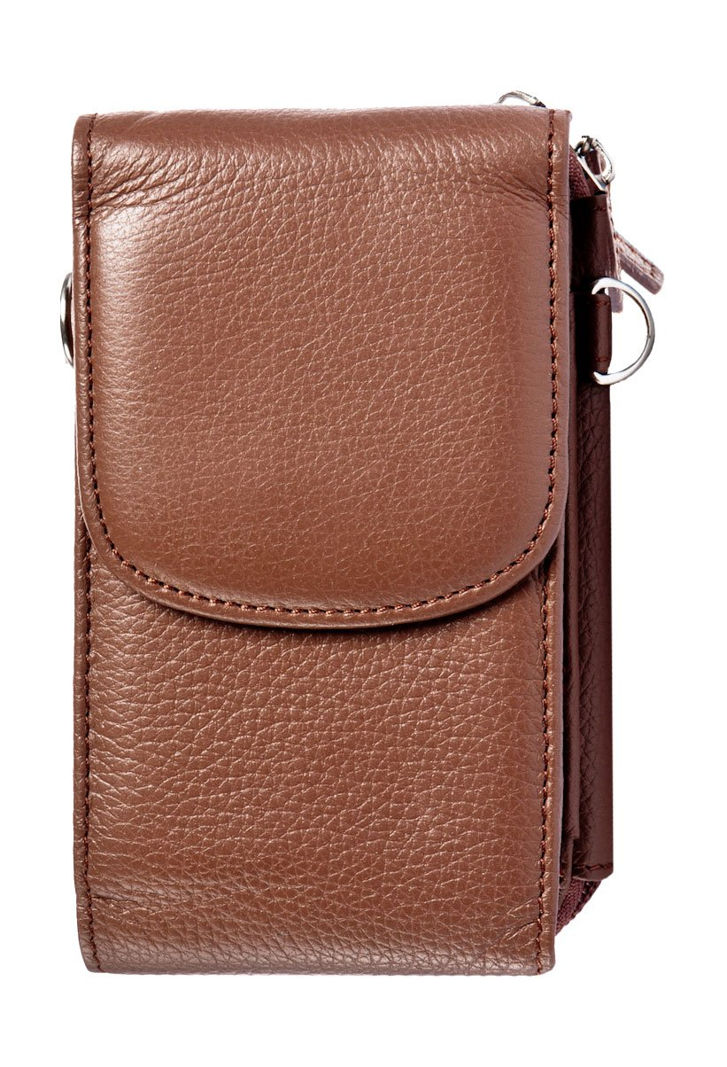 WalletBe Women's Leather Crossbody Smartphone Accordion ID Zipper Wallet, with Wristlet (Pebbled) Brown