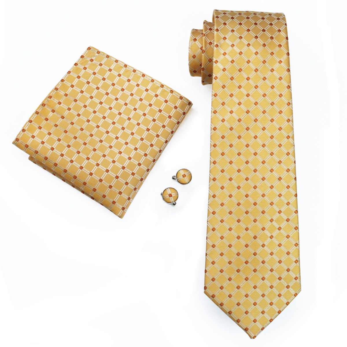 Hi-Tie Classic Gold Champagne Tie Pocket Square and Cufflinks Gift Box set Woven Silk Wedding Necktie N-1517