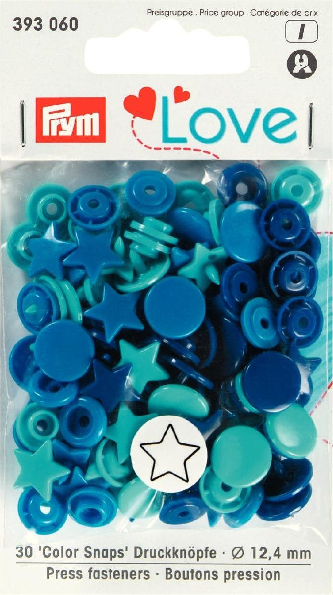 PrymLove Star Shape Non-Sew ColorSnaps Snap Fasteners, Plastic, Blue/Turquoise/Navy, 12.4 mm, 30-Piece PRYM_393060-1