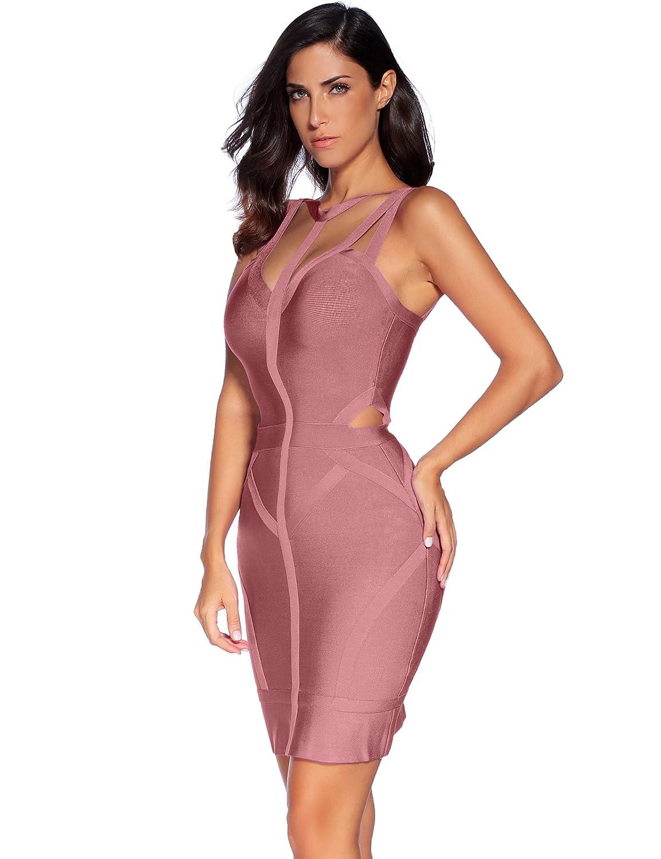 735c19c6d Amazon.com  Meilun Women s Bandage Dress Spaghetti Strap V-Neck Bandage  Bodycon Dress  Clothing