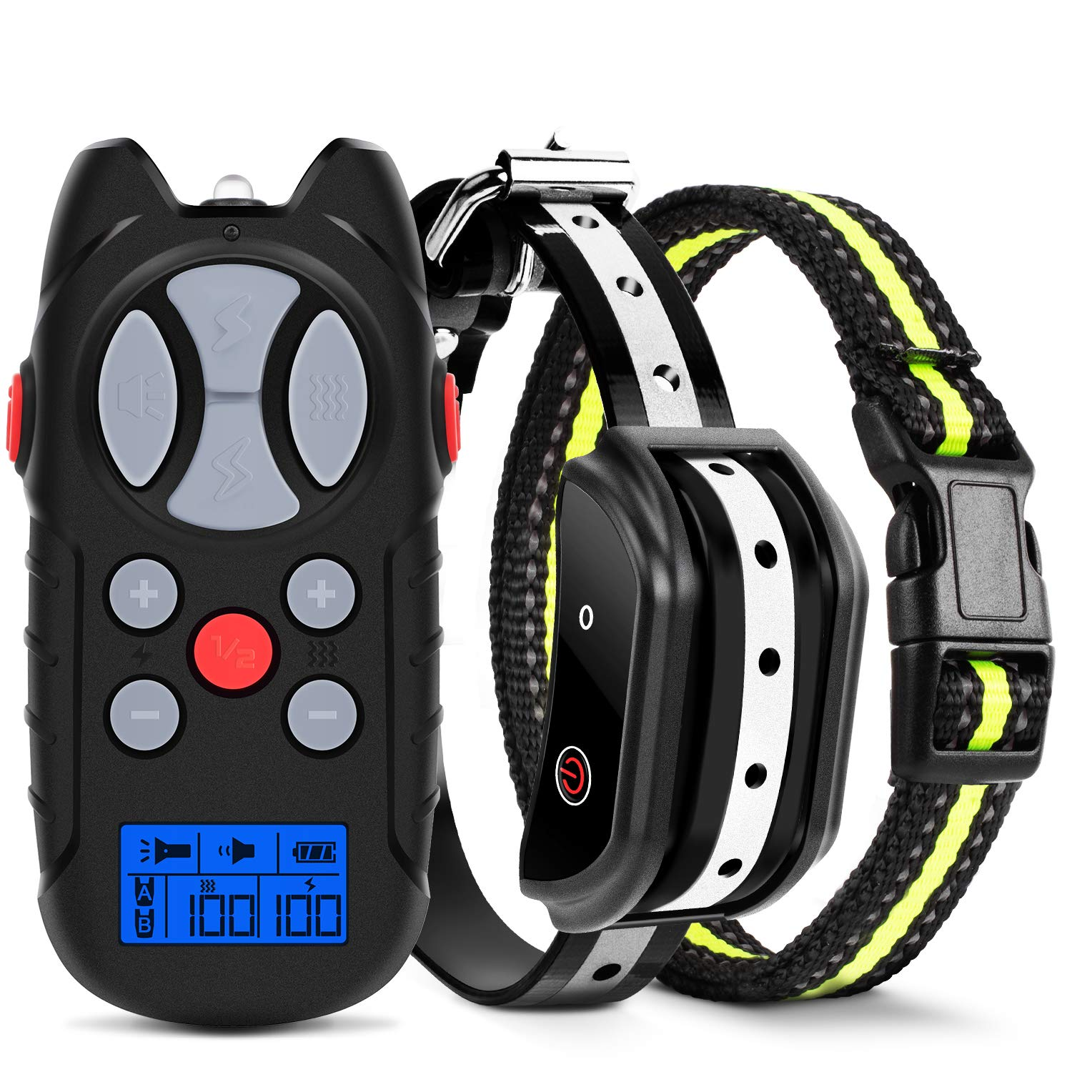 Shock Collar for Dogs, 2019 Newest Flittor Dog training Collar, Rechargeable Dog Shock Collar with Remote, 3 Modes Beep Vibration and Shock 100 Waterproof Bark Collar for Small, Medium, Large Dogs