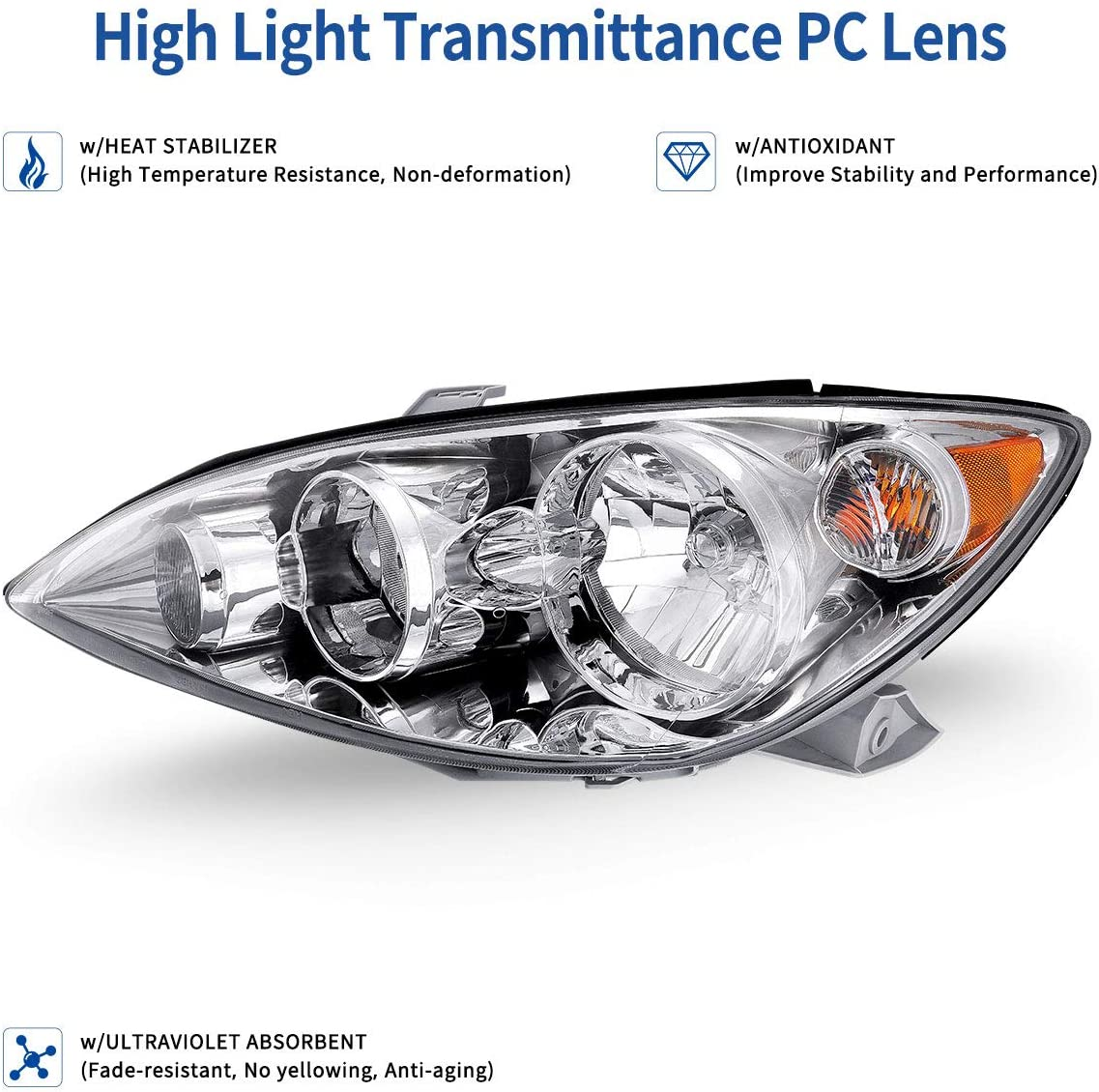 OEDRO Headlights Compatible with 2005-2006 Toyota Camry Chrome Housing with Amber Reflector Clear Lens