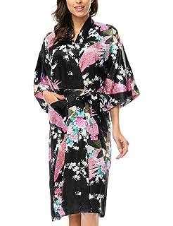 5e0360868 Elite99 Women s Sexy Robes Peacock and Blossoms Kimono Satin ...