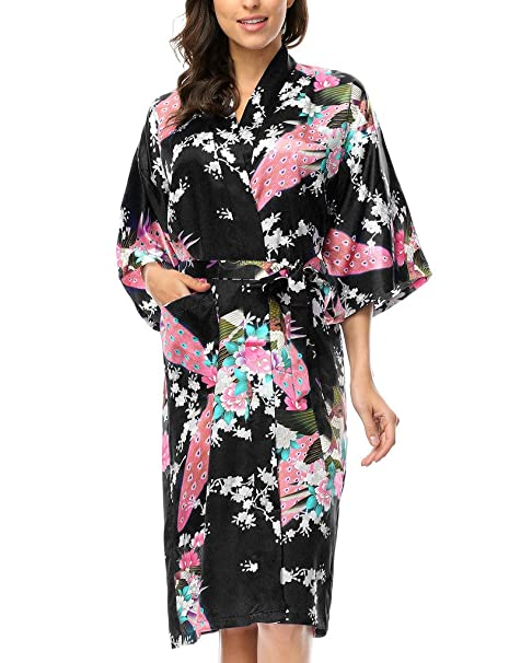 BELLOO Ladies Silk Satin Dressing Gown Long Kimono Robe 0d9fad871