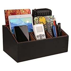 LAMOTI Leather Desk Organizer, New Devided 5 Compartments Desktop Unifier, Premium Crafted. (Black)